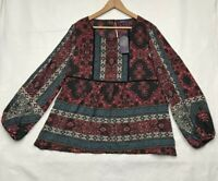 Artesia Womens Tunic Top Black Red Paisley Slit Long Sleeve Stretch Scoop XL New