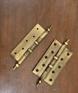 Brass Hinges Pair For Wooden Door 5'' Inches Latches For Door