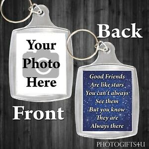 PERSONALISED KEYRING Any Photo Friends Are Like Stars Text Large 45X35mm Picture