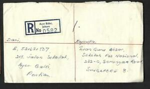 MALAYSIA,  1963 JOHORE REGISTERED COVER TO SINGAPORE, BACK STAMPS. 50c RATE
