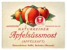 BERLINCHEN (NEUMARK) – BARLINEK  Stöffel APFELSÜSSMOST Etikett label x1538