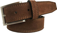 MENS SUEDE ITALIAN LEATHER BELT CHOCOLATE BROWN S,M,L,XL,XXL 35MM