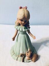 Cake Topper Age 7 Ruffled Collar Birthday Girl Enesco Blonde Ceramic