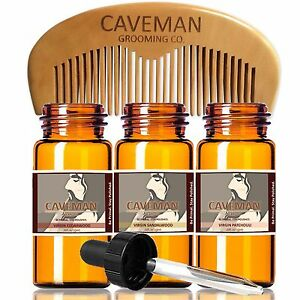 Hand Crafted Caveman® 3 Scent Virgin Beard Oil beard conditioner FREE Comb & Bag