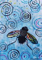 ACEO original miniature painting ~ Magnificent Mr. Fly