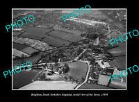 OLD POSTCARD SIZE PHOTO BEIGHTON YORKSHIRE ENGLAND TOWN AERIAL VIEW c1950