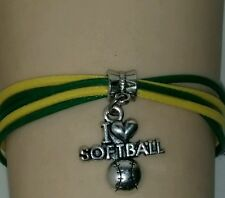 "SPORTS ROPE CHARM BRACELET-GREEN/YELLOW BASEBALL/SOFTBALL-6 1/2""-8 1/2"" #201"