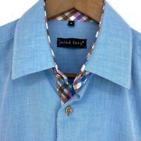 Jared Lang Shirt Size Medium Long Sleeve Button Down Blue Gingham Flip Cuff EUC