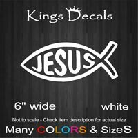 Jesus God Fish Christian Christ Car Bumper Laptop Wall Sticker Decal White