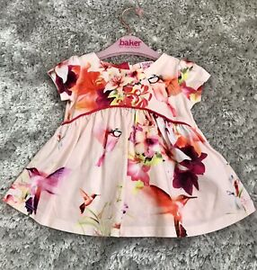 Baby Girl Ted Baker RARE Pink Floral Summer Top  6-9 Months 🎀