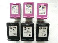 6 leere HP 302 Druckerpatronen 3 x schwarz 3 x Farbe von diesem Jahr