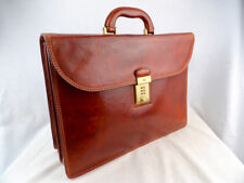 THE BRIDGE Large Classic Chestnut Leather Combination Lock Briefcase 40cm