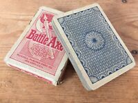 Vtg 1920s Russell Playing Card Battle Axe Deck Box Blue Geometric Backed Cards
