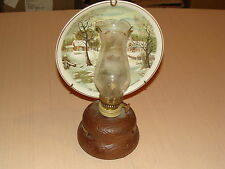 CURRIER IVES DECORATIVE PLATE OIL LAMP THE HOMESTEAD IN WINTER