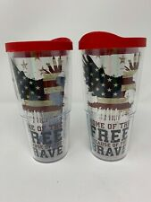 """2 NEW Tervis Tumblers 24 oz Patriotic """"Home Of The Free Because Of The Brave"""""""