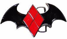 DC Comics Die Cut HARLEY QUINN Batwing Logo Metal/Enamel BELT BUCKLE