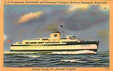 NORFOLK (LITTLE CREEK) VA S S POCAHONTAS AUTO FERRY POSTCARD c1940-50s