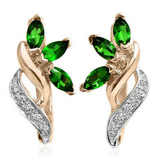 Russian Vintage Style Columbian Emerald & Diamond Earrings 14k Rose-White Gold.