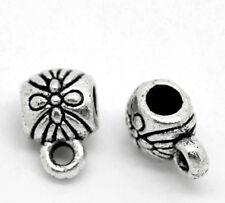 100 Perles de bélière Motif fleur 9x6mm