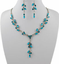 SILVER TONE TURQUOISE CRYSTAL DROP LEAF NECKLACE & EARRINGS SET