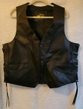 MEN'S 2XL motorcycle vest handmade 100% bkack leather W/side laces great  $