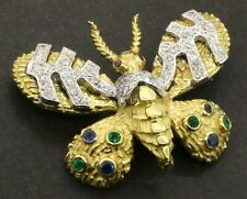 Heavy 18K 2-tone 0.94CT diamond Blue sapphire emerald butterfly moth brooch pin