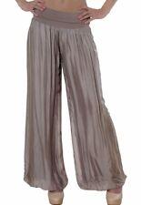 CASPAR KHS010 Pantalones Anchos de Harén Mujer de Seda y Viscosa Cintura Alta