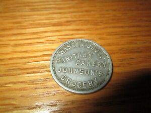Vintage WASEEN BROS. SANITARY BAKERY JOHNSON'S GROCERY 10c Metal Trade Token