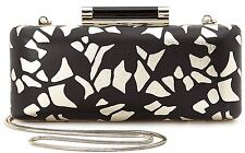 Diane Von Furstenberg Tonda Black Gold Leather Lace Clutch