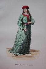 GRAVURE-SEIGNEUR COUR DE HENRI VI ANGLETERRE-COSTUMES MOYEN AGE 1847-  PRINT