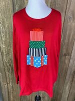 Lands End Womens Plus Christmas Present Sweater Red Size 2X