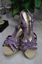 W Savana RRP £39 UK 7 purple lavender snakeskin sandal with canvas platform heel