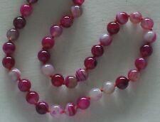 "10MM Red & Purple Stripe Agate Gemstone Necklace 18"" NEW (silk gift bag)"