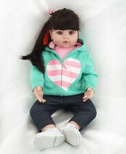 "22"" Reborn Toddler Dolls Soft Vinyl Long Hair Adora Girl doll Gift Boneca gifts"