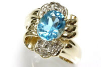 3.2 ct tw Natural Blue Topaz & Diamond 14k Yellow Gold Twisted Cocktail Ring