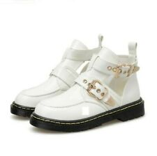 Women Ankle Boots Low Chunky Heel Hollow Out Platform Buckle Casual Chic Shoes D