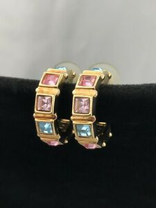 Swarovski Pastel Crystal Pierced Earrings Yellow Gold Plated Pink Lavender Blue