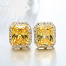 925 Silver Filled Rectangle Yellow Topaz Gemstone Hook Stud Earrings Jewelry New