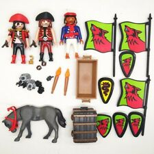4pcs PLAYMOBIL GEOBRA pirate & Gray Horse Action figure toy Collectible A101T