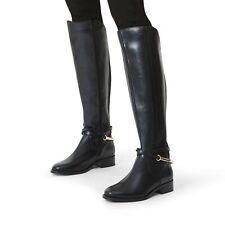BNIB CARVELA KURT GEIGER WOMEN'S BLACK LEATHER KNEE HIGH FLAT BOOT 4/37 RRP £199