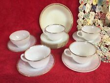Vintage Set of 17 Fire King White Milk Glass w Gold Trim Saucers Bowls Cups