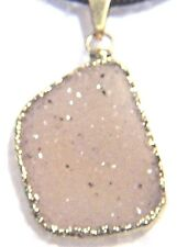 NEW HOUSE OF RHYA INTERESTING GOLD-PLATED DRUZY QUARTZ PENDANT ON CORD NECKLACE