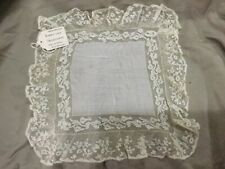 Vintage Embroidery and Handmade Valenciennes Bobbin Lace Handkerchief, M31