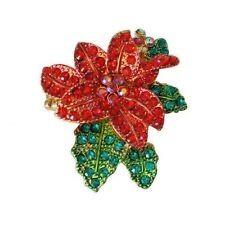 Christmas Poinsettia Passion Stretch Ring Sparkling Red & Green Crystals