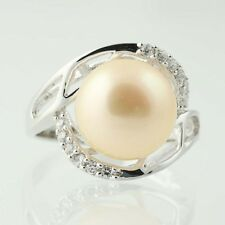 New Cultured Cream Pearl CZ Halo Ring - Sterling Silver Size 7 Cocktail