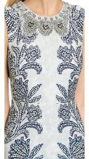 New BCBG Chloey Embellished Print A-Line Crepe Blue Paisley Gown Dress usa 2