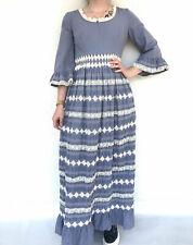 Vintage VTG 1970s 70s Blue Lace Long Sleeve Embroidered Boho Maxi Dress