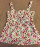 New look Floral Summer Top Cami Pretty Cute UK Size 10 Buttons VGC !
