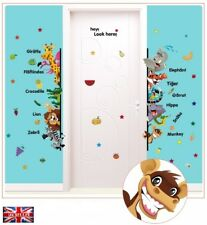 Animals Door Edge Wall Stickers Elephant Tiger Monkey Kids Art Decal Nursery UK