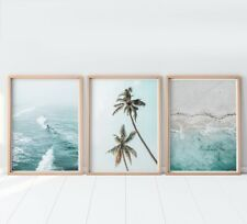 Set of 3 Palm Trees Surfing Beach Art Prints. Look Great Framed A3 A2 A1 Size